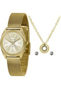 Kit De Relógio Analógico Lince Feminino + Brinco + Colar - Lrgh121L Kx28C2Kx Dourado