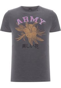 Camiseta Masculina Army Flower - Cinza