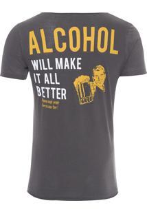 Camiseta Masculina Alcohol - Cinza