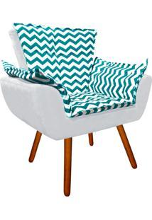 Poltrona Decorativa Opala Suede Composê Estampado Zig Zag Verde Tiffany D78 E Suede Cinza - D'Rossi