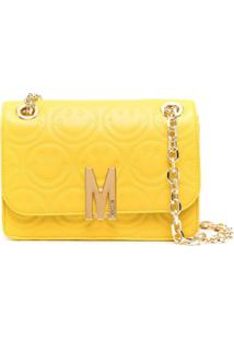 Moschino Bolsa Transversal Matelassê M Smiley - Amarelo