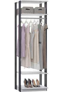 Estante Cabideiro Para Roupas Longas Clothes – Be Mobiliário - Branco / Espresso