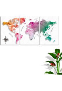 Quadro Mapa Mundi Cororido 60X120Cm Decoração Escritórios Salas Empresas Oppen House