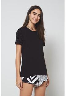 Camiseta Oh,Boy! Brilho Feminina - Feminino-Preto