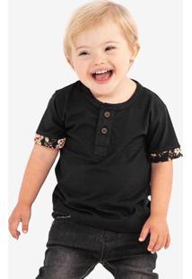 Camiseta Henley Preta Detalhe Floral Niños 500086