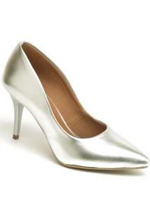 Scarpin Metalizado Salto Médio Ellas Online Feminino - Feminino-Prata