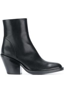 Ann Demeulemeester Ankle Boot De Couro Com Zíper - Preto