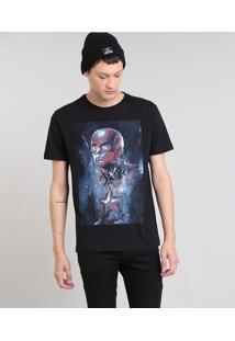 Camiseta Masculina Capitão América Manga Curta Decote Redondo Preta
