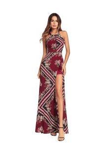 Vestido Longo Com Fenda Estampa Floral Laço Nas Costas - Vinho