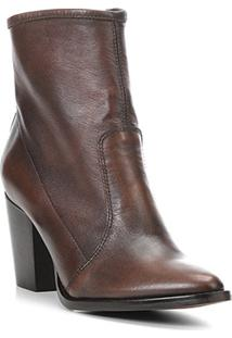 Bota Couro Cano Curto Shoestock Bico Fino Feminina - Feminino-Café