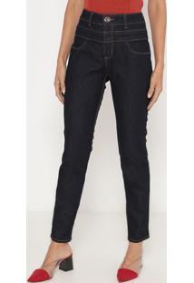 Jeans Skinny Com Pespontos- Azul Escuro- Lança Perfulança Perfume