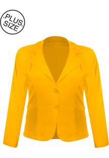 Blazer Outletdri Casaco Terno Terninho Social Plus Size Amarelo