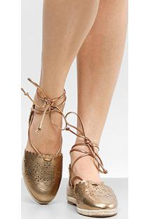 Sapatilha Shoestock Laser Floral Feminina - Feminino-Bronze