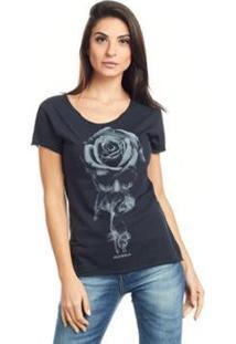 Camiseta Feminina Básica Estampada Bossa - Caveira - Feminino-Preto