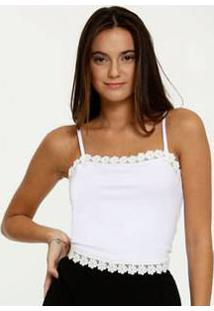 Blusa Feminina Cropped Recorte Renda Alças Finas Marisa