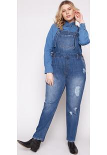 Jardineira Almaria Plus Size Izzat Colomiers Jeans - Azul - Feminino - Algodã£O - Dafiti