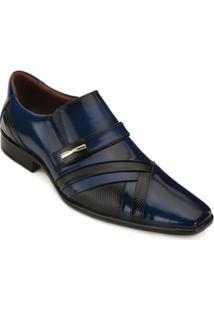 Sapato Social Promais Masculino - Masculino-Marinho+Preto