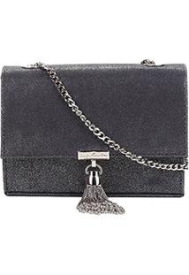 Bolsa Couro Luiza Barcelos Mini Bag Glam Feminina - Feminino-Chumbo