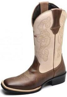 Bota Country Top Franca Shoes Country - Feminino-Bege