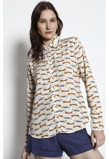 Camisa Com Manga Longa- Off White & Bege- Muraumurau