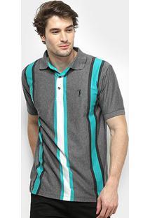 Camisa Polo Aleatory Listrada Fio Tinto Masculina - Masculino-Cinza