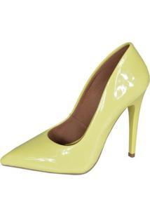 Scarpin Eagle Black Fashion Alto Feminino - Feminino-Amarelo