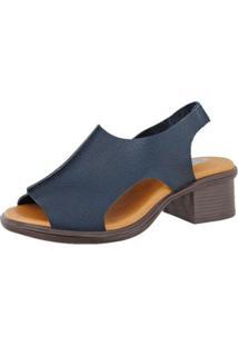 Sandália Danflex Calçados Couro Baixa Feminina - Feminino-Azul