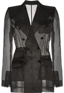 Dolce & Gabbana Jaqueta 'Organza' Em Seda Com Efeito Translúcido - Preto