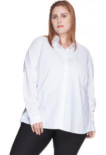 Camisa Evasê 100% Algodão Bold Plus Size Branco