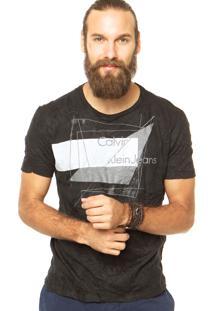 Camiseta Calvin Klein Jeans Reta Preto