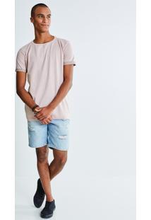 Bermuda Jeans Com Rasgos