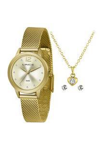 Kit De Relógio Analógico Lince Feminino + Brinco + Colar -Lrgh141L Ky25C2Kx Dourado