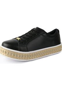 Tênis Plataforma Flatform Cr Shoes 4034L Preto Fosco