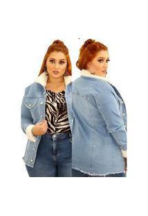Parka Jeans Jaqueta Pelinho Feminina Plus Size Clara Azul