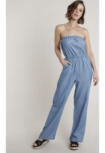 Macacão Jeans Feminino Tomara Que Caia Com Bolsos Azul Claro