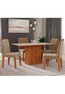 Conjunto De Mesa Ana 1,30 Para Sala De Jantar Com 4 Cadeiras Nicole-Cimol - Savana / Offwhite / Joli