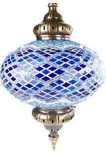 Luminária Pendente Turca Azul G