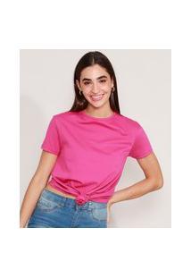 Camiseta De Algodão Básica Com Nó Manga Curta Decote Redondo Roxa