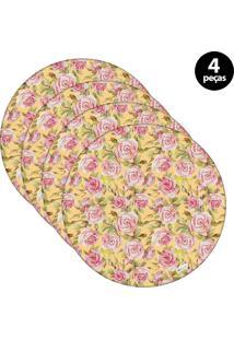 Capa Para Sousplat Mdecore Floral Amarelo 4Pçs