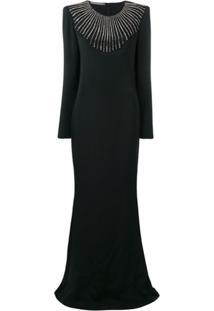 Alberta Ferretti Vestido Com Aplicação - Preto