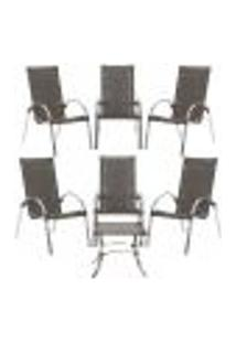 Jogo Cadeiras 6Un E Mesa De Centro Garden Para Edicula Jardim Area Varanda Descanso - Pedra Ferro