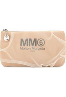 Mm6 Maison Margiela Clutch Com Logo - Marrom