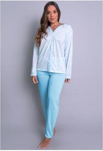 Pijama Mvb Modas Aberto - Feminino-Azul