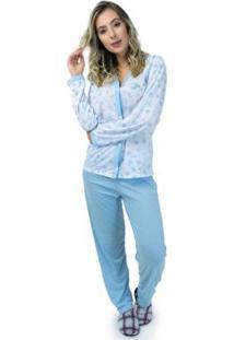 Pijama Mvb Modas Aberto Blusa Com Botões E Calça Feminino - Feminino-Azul