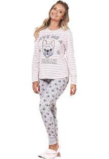 Pijama De Inverno Feminino Luna Cuore - Feminino-Cinza