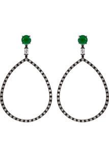 Brinco Longo Gota The Ring Boutique Pedra Cristal Verde Esmeralda Ródio Negro