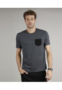 Camiseta Masculina Básica Comfort Fit Com Bolso Manga Curta Gola Careca Cinza Mescla Escuro