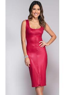 Vestido Vermelho Em Cirrê Com Fenda