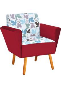 Poltrona Decorativa Dora Estampado Folhas D68 Com Veludo Vermelho - D'Rossi - Vermelho - Dafiti