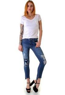 Calça Jeans Skinny Opera Rock Com Rasgos E Puidos Feminina - Feminino-Azul